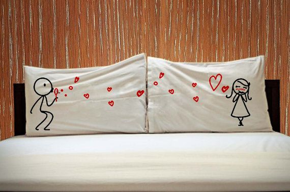Sending Love Couple Rectangle Pillow Covers  His and by KIKIANO