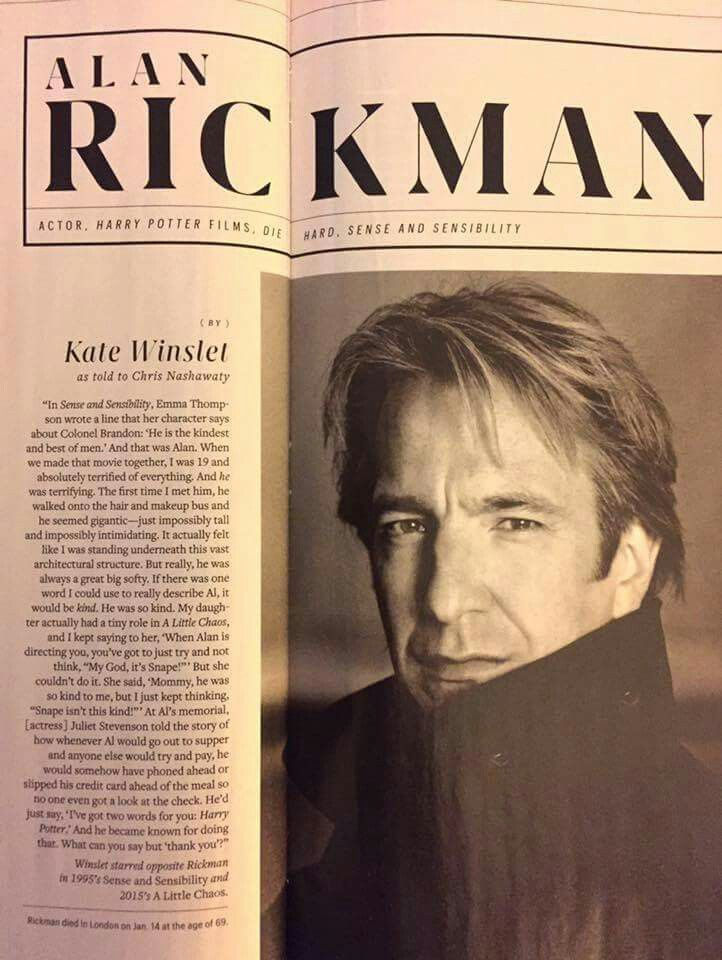 How Kate Winslet remembers Alan Rickman ♥