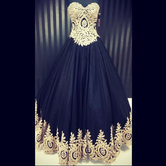 Ball Gown Sweetheart Neck Black Satin Gold Lace