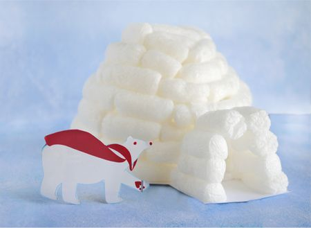 zakka life: upcycle crafts  This time I'm making an igloo out of packing peanuts.  The secret to this project is that the packing peanuts are biodegradable so no glue is required.  All you need are three things: cardboard, water, and water soluble packing peanuts.