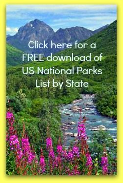 US National Parks List By State and Closest Cities. Here's a convenient US National Parks list by state and closest cities. You can view on-line or print a version which includes phone numbers and links.