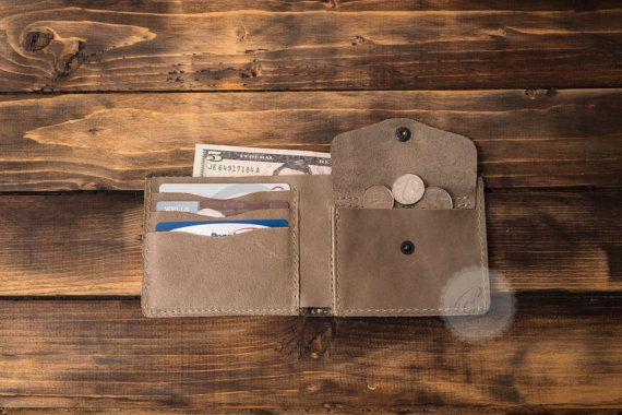 Olive green leather wallet credit card wallet mens leather wallet minimal wallet slim wallet coin pocket wallet billfold wallet card holder