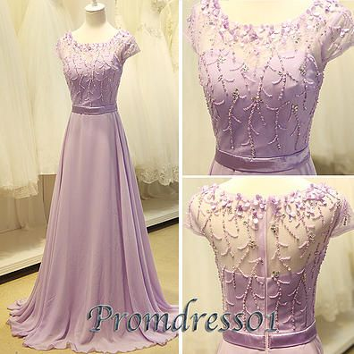 2015 new cute sequin round neck lavender chiffon a-line modest long prom dress for teens, homecoming dress, evening dress, ball gown, bridesmaid dress, plus size dresses #promdress #wedding
