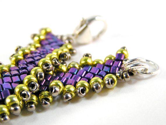 Slanted Ribbon Bracelet - Beadweaving, Beadwork - Glass Beads, & Sterling Silver - Metallic Purple/Yellow Gold/Steel Colorway by knitbeadlove