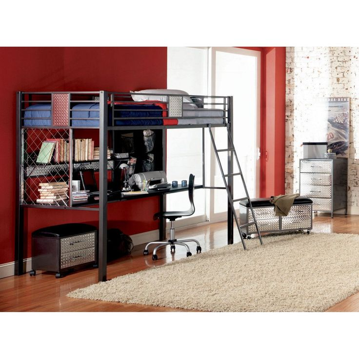 metal front twin size study loft bunk bed where ordinary youth bedroom furniture becomes