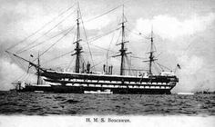 HMS Boscawen ordered by Royal Navy 11th May 1817,with hull laid down at Woolwich Dockyard England January 1826.Gun deck 187ft 4½in weighing in at 2212tons,served in Baltic during Russian War under & in late 1850's on W African Coast disrupting slave trade,1874 renamed Training Ship 'Wellesley' & stationed on Tyne at North Shields.Unfortunately 'Wellesley' destroyed by fire on 11 March 1914 at North Shields England & school moved ashore becoming the Wellesley Nautical School.