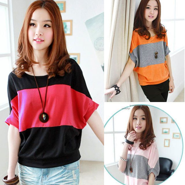 Korean Womens Casual Striped Batwing Sleeve Cotton Loose Top Tee T shirt Blouse #Unbranded #Blouse #Casual