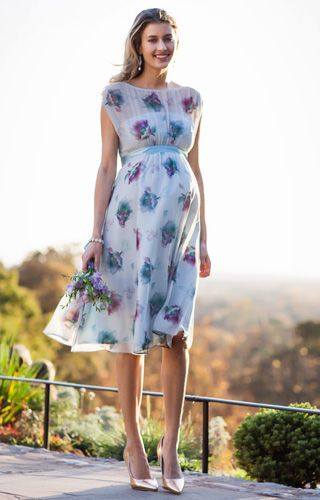 Maya Maternity Gown Short Dusky Floral by Tiffany Rose