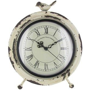 Antique White Metal Table Clock With Bird On Top Hobby Lobby