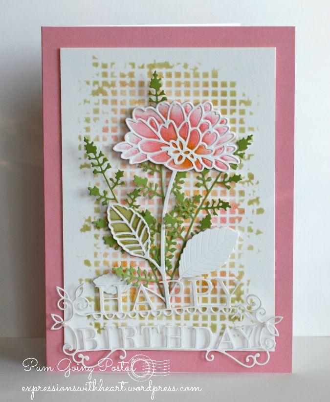 Card by Pam Sparks (010214) and (010314) http://www.youtube.com/watch?v=kInNfKZTIn4 [Memory Box (die) Delightful Peony Outline, Delightful Peony Background, Eva Stem, Happy Birthday; (stencil) Mesh]