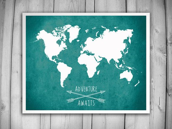WORLD MAP POSTER Adventure Awaits World Map by theNATIONALanthem