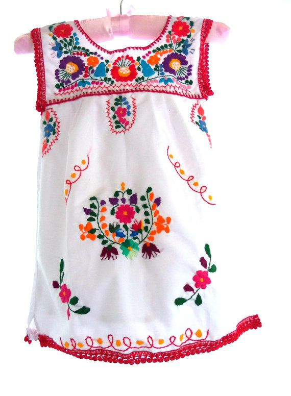 Mikaela handmade embroidered mexican baby tunic dress on