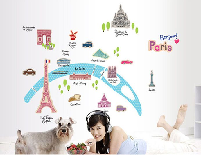 Fashion French landscape Nursery Wall Decal Removable Sticker Decor Colorful //ebay shop:http://stores.ebay.com/leyintzonline //website:http://ws.metoshop.com