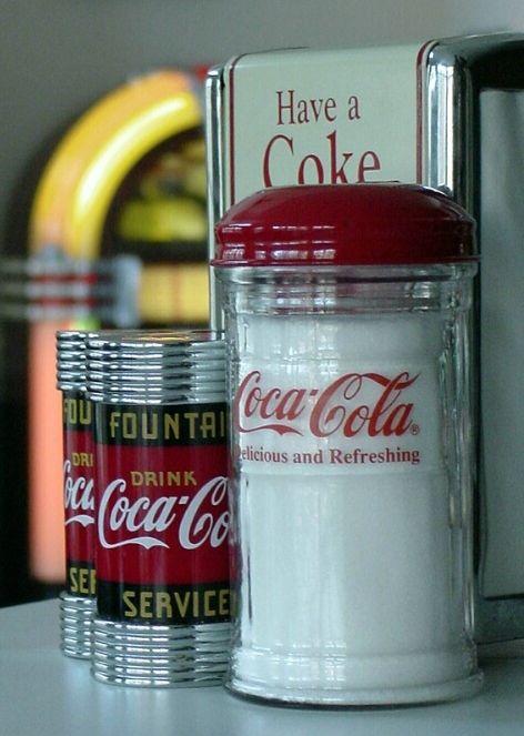 Coca-Cola Salt Shakers, Sugar Dispenser & Napkin Holder.