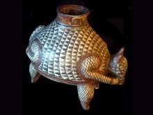 Pre-Columbian [replicated] #pottery vessel of an armadillo. Whimsical ceremonial piece.