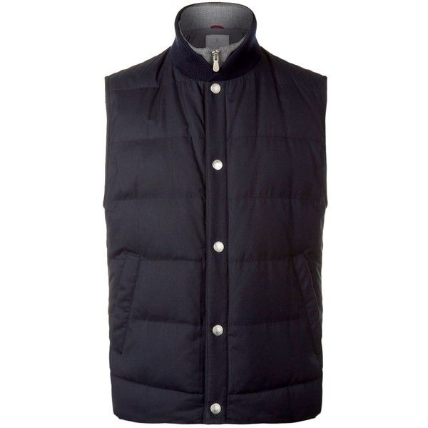 Brunello Cucinelli Quilted Wool & Silk Gilet (158.425 RUB) ❤ liked on Polyvore featuring men's fashion, men's clothing, men's outerwear, men's vests, mens quilted vest, mens wool vest, mens silk vest, mens zip up vest and mens zipper vest