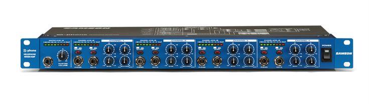Samson S-Phone - Four Channel Headphone Amplifier.  S-phone merupakan single rack space headphone amplifier dengan empat channel. Dilengkapi dengan fitur canggih yang memberikan fleksibilitas untuk monitor dan cue mixing. Master input memiliki sebuah input level dan LED meter untuk mengatur dan mendisplay keseluruhan stereo input.