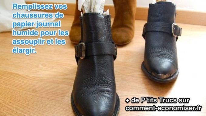 Que ce soient des escarpins, des bottines, des bottes, des ballerines ou des mocassins, voici l'astuce qu'il vous faut pour que vos nouvelles chaussures en cuir ne vous fassent plus mal aux pieds.   Découvrez l'astuce ici : http://www.comment-economiser.fr/astuce-assouplir-elargir-chaussures-cuir.html?utm_content=buffer6711e&utm_medium=social&utm_source=pinterest.com&utm_campaign=buffer