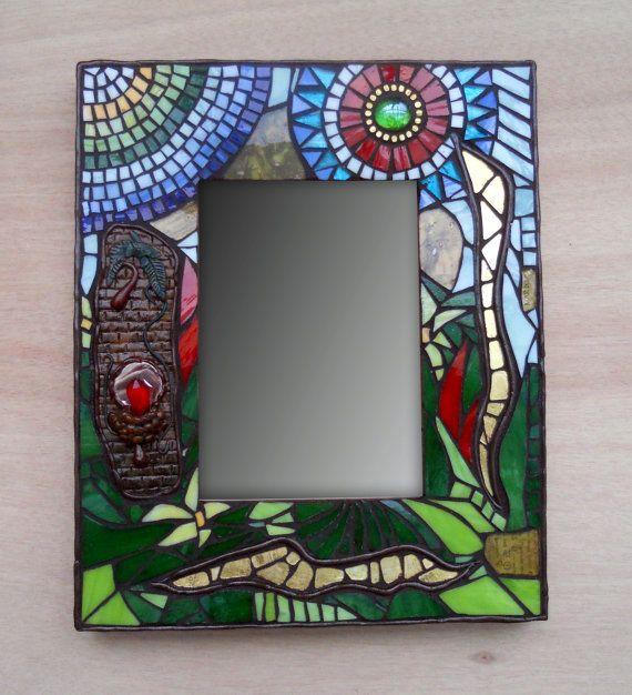 Espejo de Mosaico, Stained Glass Mosaic Mirror, Alquimia, Piedra Filosofal 24cmx29cmx2cm. Mosaik Spiegel