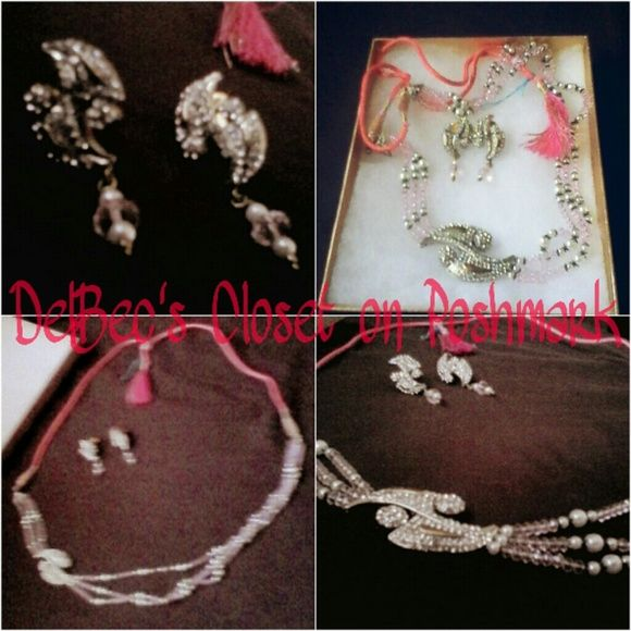 Indian Jewelry Set Diwali Bridal Bollywood Pink Jewelry set from India