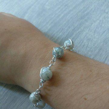 Handgemaakt - - Armband - Wire wrapping - Glaskralen - €20,-