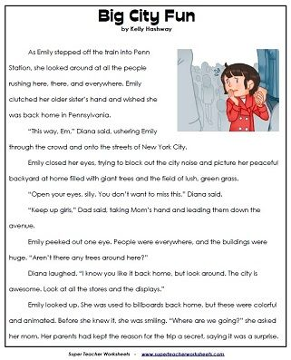 Reading Comprehension Stories - 4th