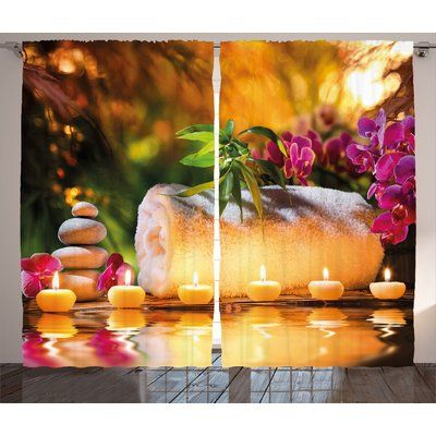 East Urban Home Spa Asian Classic Spa Joy in the Garden with Romantic Candles and Orchids Graphic Print & Text Semi-Sheer Rod Pocket Curtain Panels...