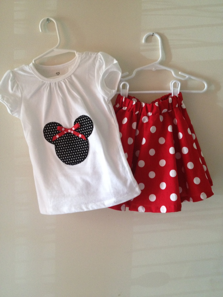 Minnie Mouse Skirt and Applique Shirt  MAKE
