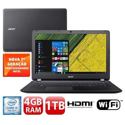 Notebook Acer Aspire ES1-572-33SJ Intel i3-7100U 4GB 1TB Tela Full HD 15.6 Windows 10 << R$ 143910 >>