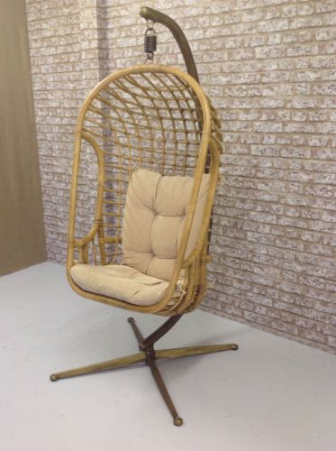 Vintage-Mid-Century-1960s-Hanging-Basket-Swing-Chair-Bamboo-Egg-With-Cushion