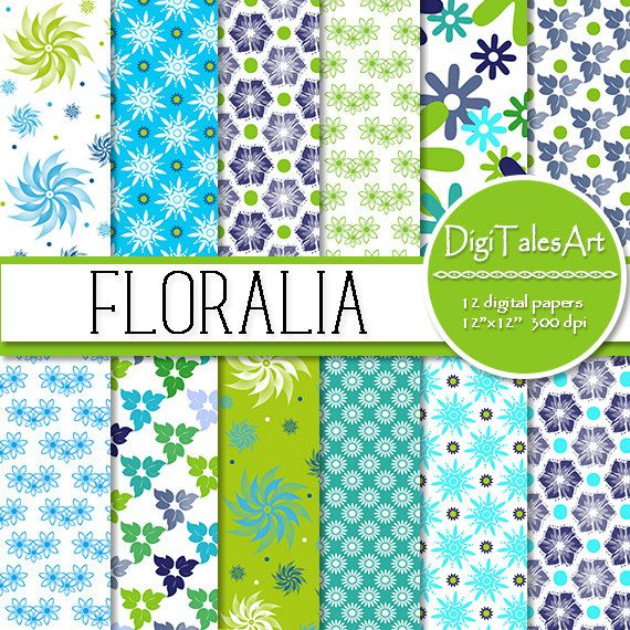 "Floral digital paper ""Floralia"" by DigiTalesArt. Perfect for scrapbooking, making cards, invitations, collages, crafts, web graphics, and so much more."
