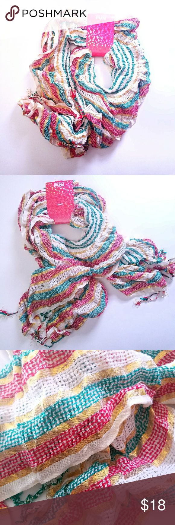 NWT multicolored metalic striped tassle scarf Brand new  Orginal price $32.00 Gorgeous metallic gold stripe Mixit Accessories Scarves & Wraps