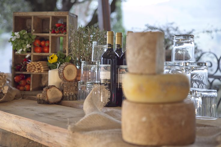 Tuscan Cheese at Castello Vicchiomaggio, Tuscany, Italy. Wedding Buffet, country style buffet