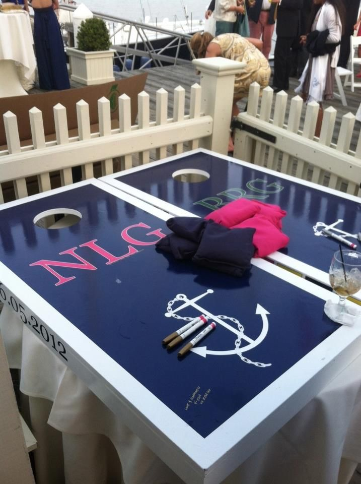 """Nautical Monogrammed Wedding Guestbook Cornhole Set, Newport, RI. Featured on """"Style Me Pretty"""" by Burgee Boards  www.burgeeboards.com or burgeeboards@gmail.com to order"""