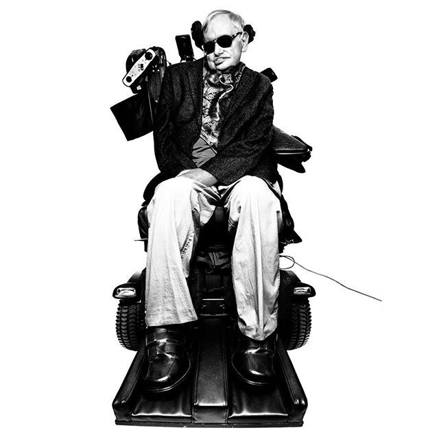 """stephen hawking. """"I photographed Professor Hawking in his personal office buried deep inside the Department of Mathematical Sciences at Cambridge University, England. The room was dominated by an oversized blackboard filled with chalked algebra equations. Pictures of Marylyn Monroe were scattered on all remaining walls. The professor was brought in by a team of medical nurses and a technical adviser. I was asked to leave the room so they could have some privacy to prepare him for my sitting…"""