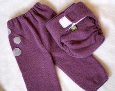 Recycled Wool Sweater Diaper Cover and Longies Set - One Sweater, Two items! These pants came really sweet.