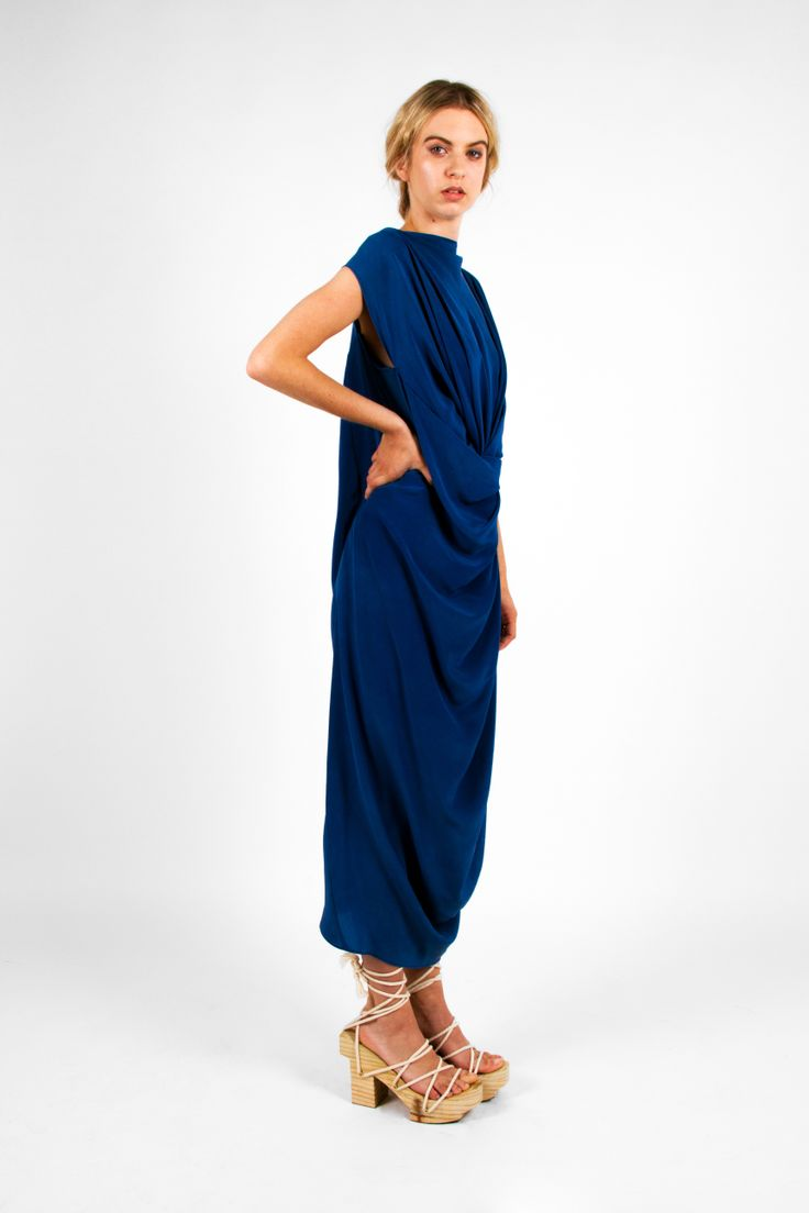 Nicole Wesseling; Zen 2013 Double-Sided Dress in crepe de chine naturally dyed with indigo. Steven Park of 6x4.  Photographer: James Black of Black Photographic. Model: Kelly Pochyba