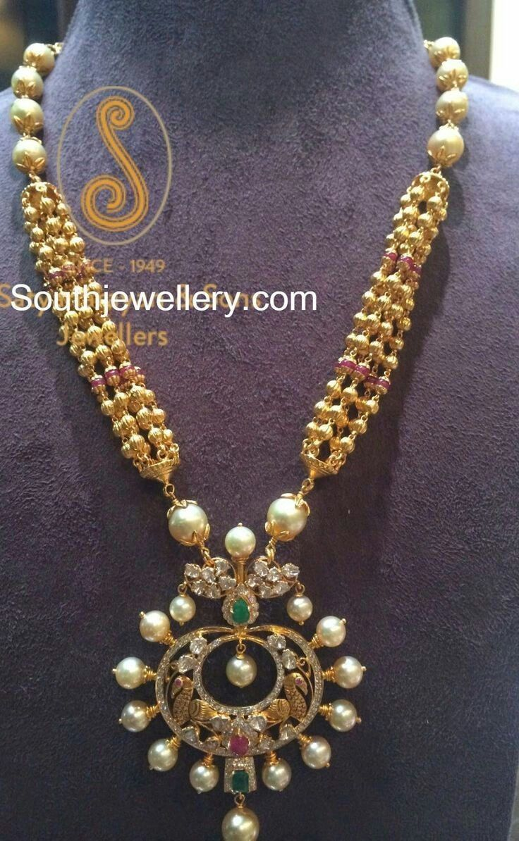 And contemporary gold jhumkas collection by khazana jewellery - Antique Necklace With Chandbali Pendant Jewellery Designs
