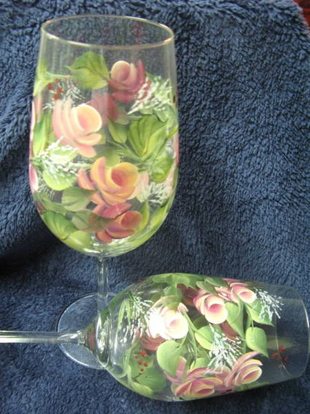One stroke rose buds on wine glasses - $2.50 each - great for wedding favours