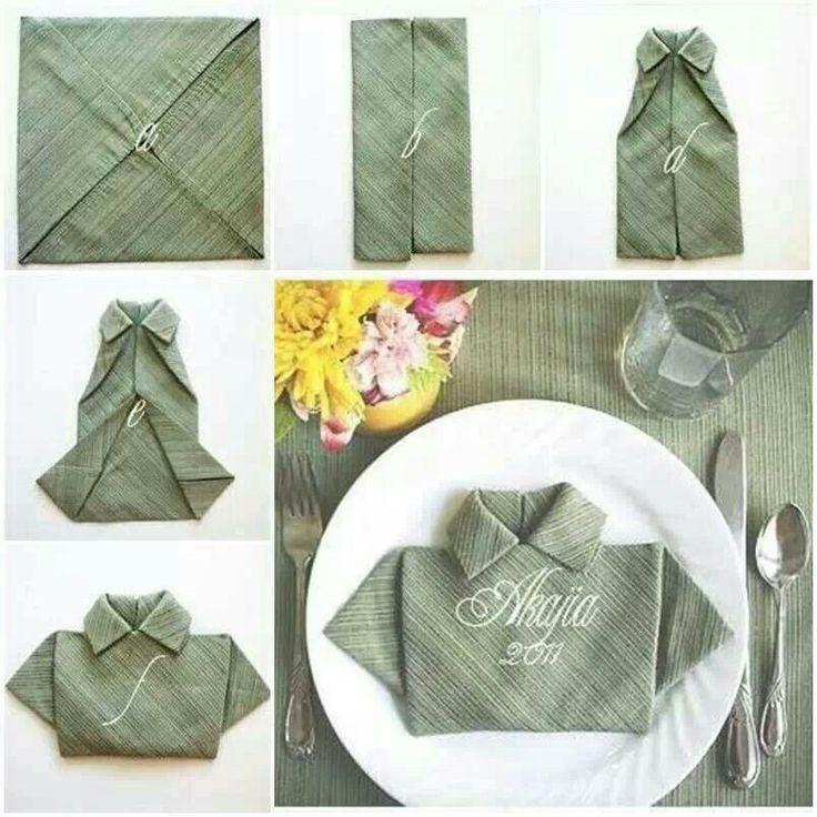Pliage serviette serviettes pliages pinterest chemises - Pliage serviette bapteme garcon ...
