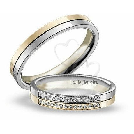 His & Hers Mens Womens Matching 10k Two Tone Gold Wedding Bands Rings Set  4mm/4mm Wide  Sizes 4-12  Free Engraving  New