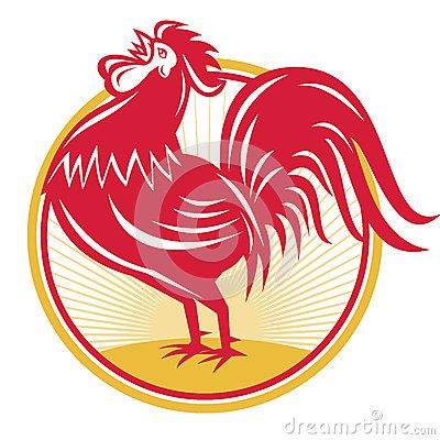 Rooster Cockerel Crowing Retro