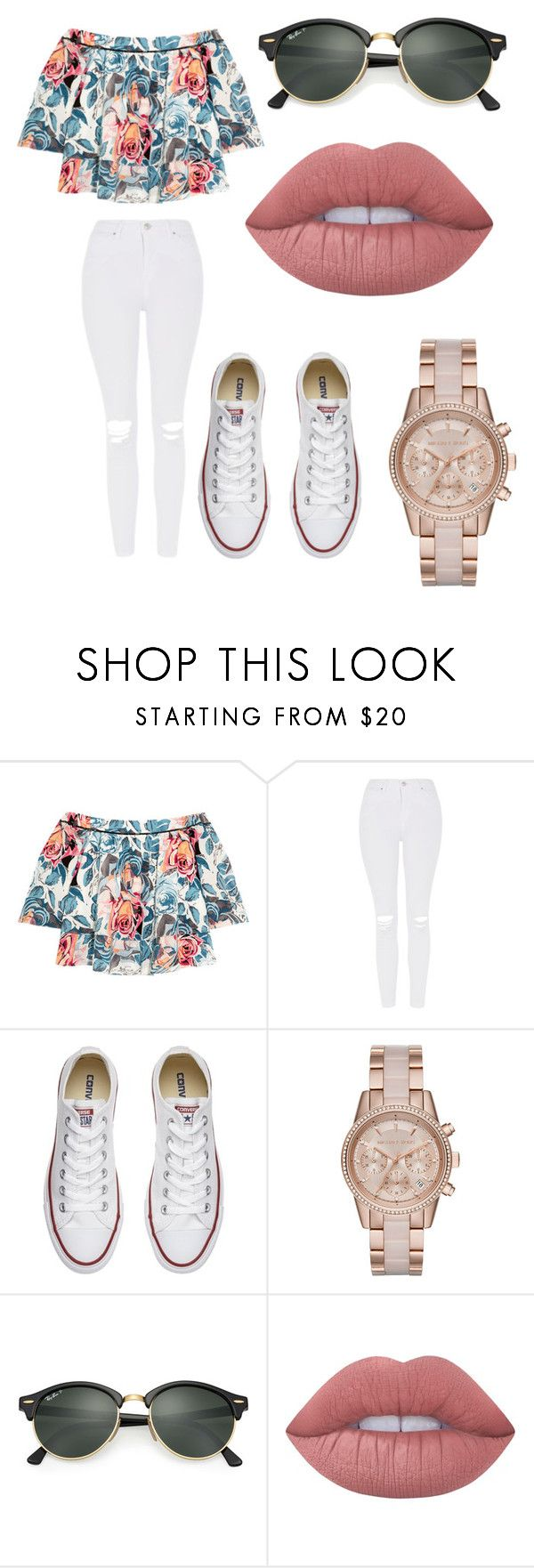 """"""""""" by marianapg01 ❤ liked on Polyvore featuring Elizabeth and James, Topshop, Converse, MICHAEL Michael Kors, Ray-Ban and Lime Crime"""
