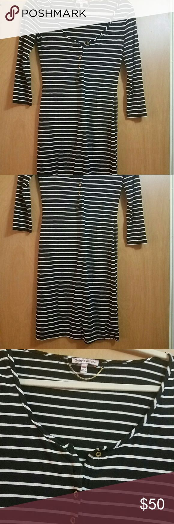 XS black and white striped Juicy Couture dress Gold hardware black and white striped Juicy Couture dress, size XS Juicy Couture Dresses Long Sleeve