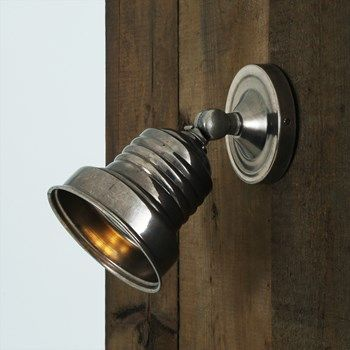 Adjustable Antique Silver Industrial Spotlight Wall Light