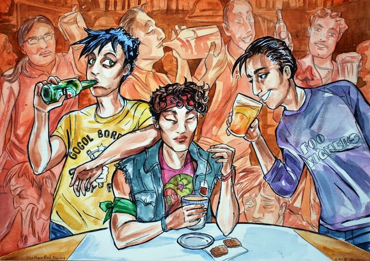 Beer, Tea, Friends, Watecolour illustration by One More Red Naima