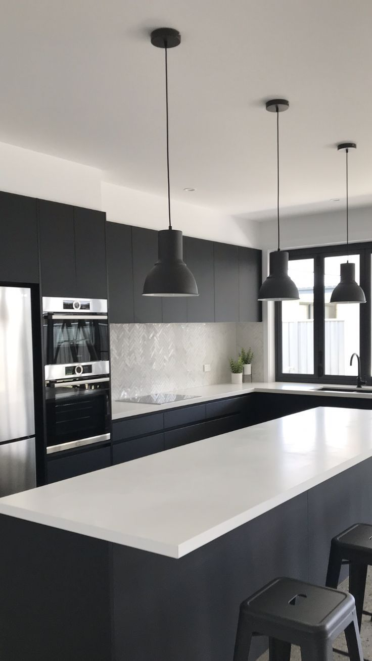 Black And White Kitchen Absolute Matte Black Laminex Quantum Quartz Alpine Matte Benchtop In 2020 Black Appliances Kitchen White Kitchen Black Appliances Matte Black Kitchen