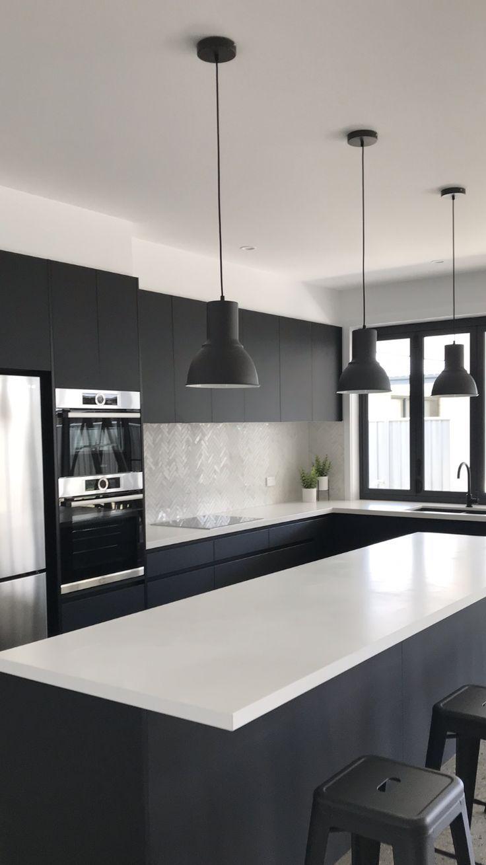 Black And White Kitchen Absolute Matte Black Laminex Quantum Quartz Alpine Matte In 2020 White Kitchen Black Appliances Matte Black Kitchen Black Appliances Kitchen