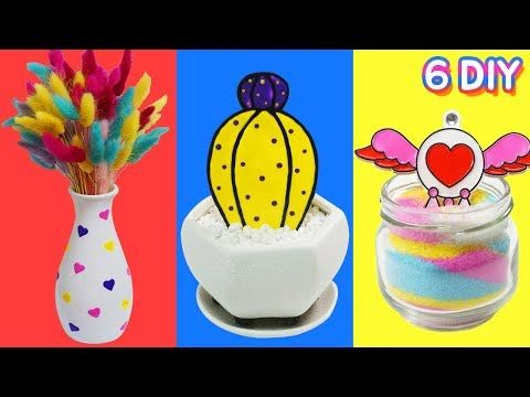 DIY 6가지 방 꾸미기 인테리어 소품 만들기!! 내방꾸미기 아모스 글라스데코 팝아트 리아루아 RiaRua - YouTube