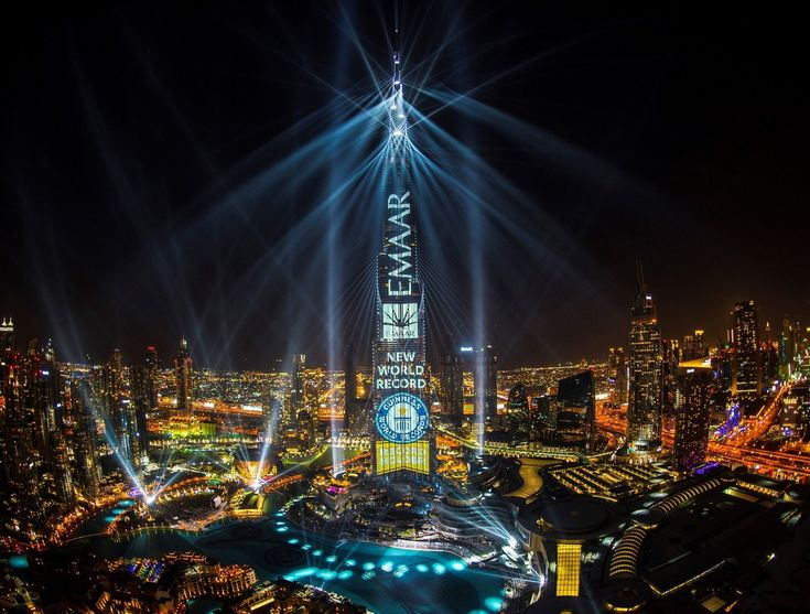 Emaar's Light Up 2018 spectacle clinches GUINNESS WORLD RECORDS title for the 'largest light and sound show on a single building staged on Burj Khalifa (PRNewsfoto/Emaar Properties)